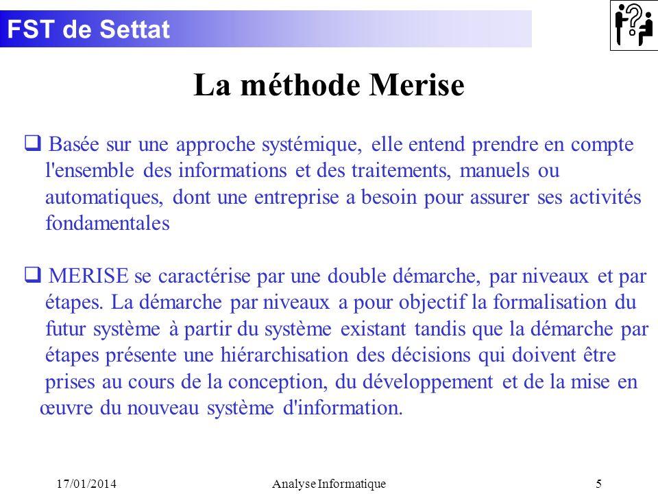FST de Settat 17/01/2014Analyse Informatique5 La méthode Merise q Basée sur une approche systémique, elle entend prendre en compte l'ensemble des info