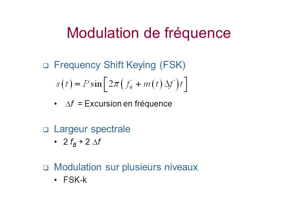 Modulation de fréquence Frequency Shift Keying (FSK) f = Excursion en fréquence Largeur spectrale 2 f B + 2 f Modulation sur plusieurs niveaux FSK-k