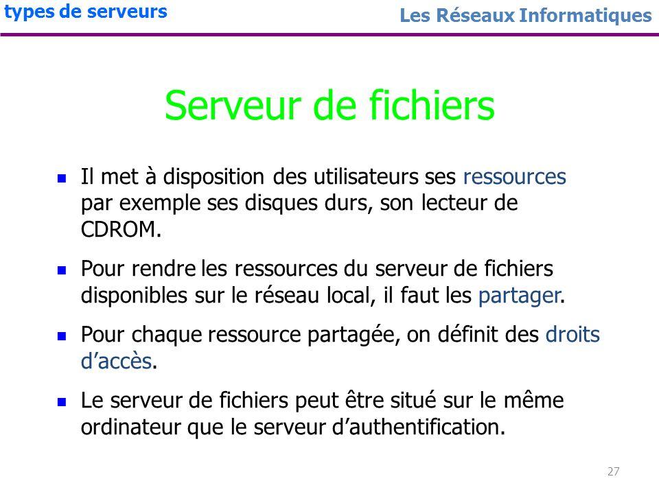 26 Les Réseaux Informatiques types de serveurs Serveur dauthentification Rôle : authentifier un utilisateur par son nom dutilisateur (login) et son mo