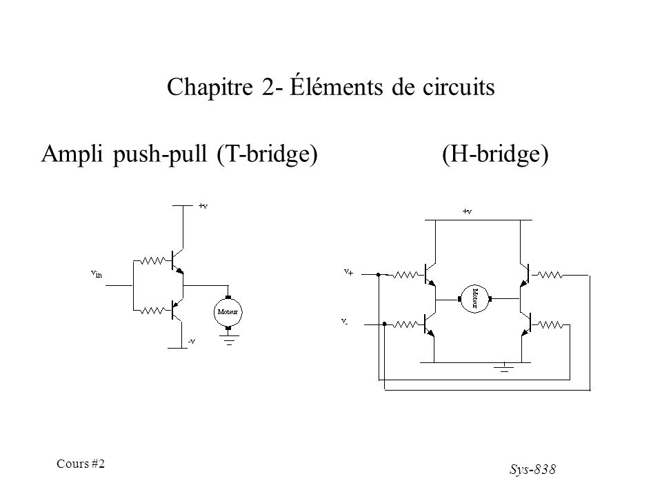 Sys-838 Cours #2 Chapitre 2- Éléments de circuits Ampli push-pull (T-bridge)(H-bridge)