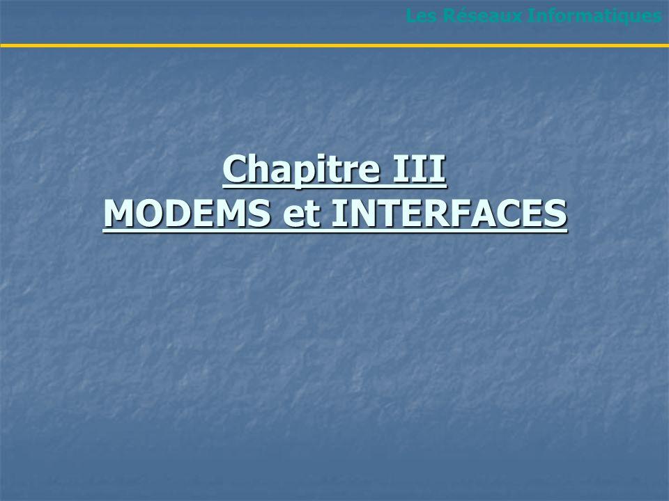 Chapitre III MODEMS et INTERFACES Les Réseaux Informatiques