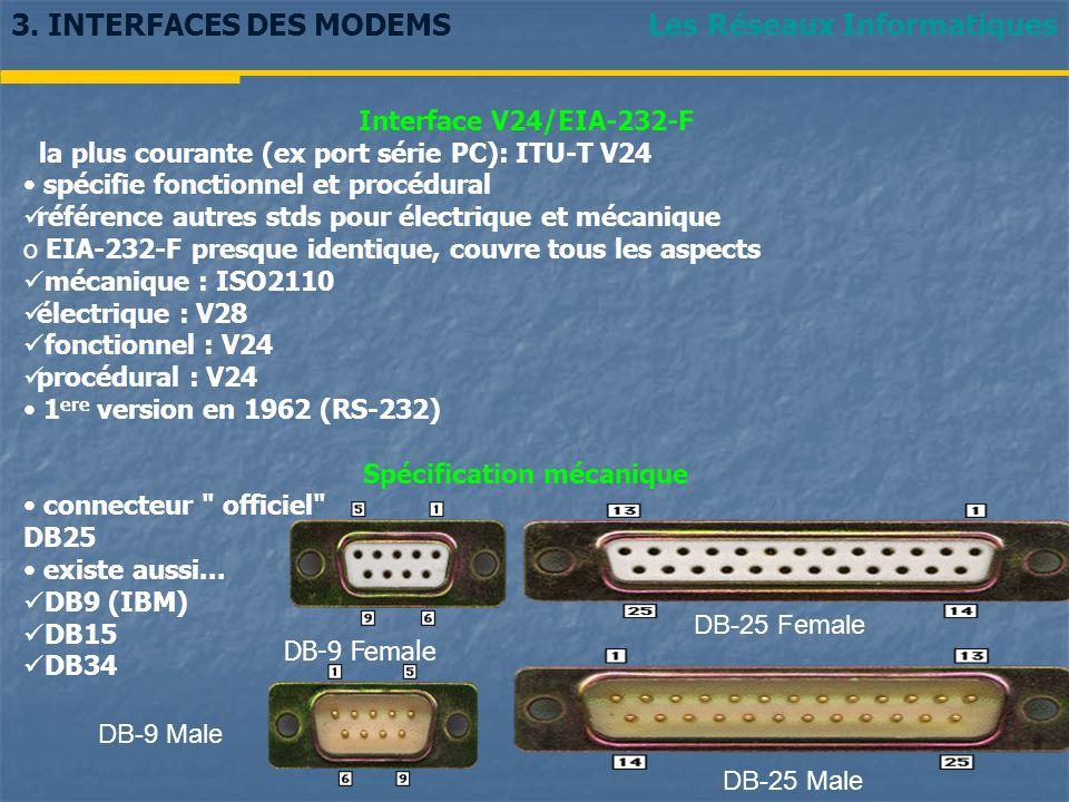 Les Réseaux Informatiques3. INTERFACES DES MODEMS Interface V24/EIA-232-F la plus courante (ex port série PC): ITU-T V24 spécifie fonctionnel et procé