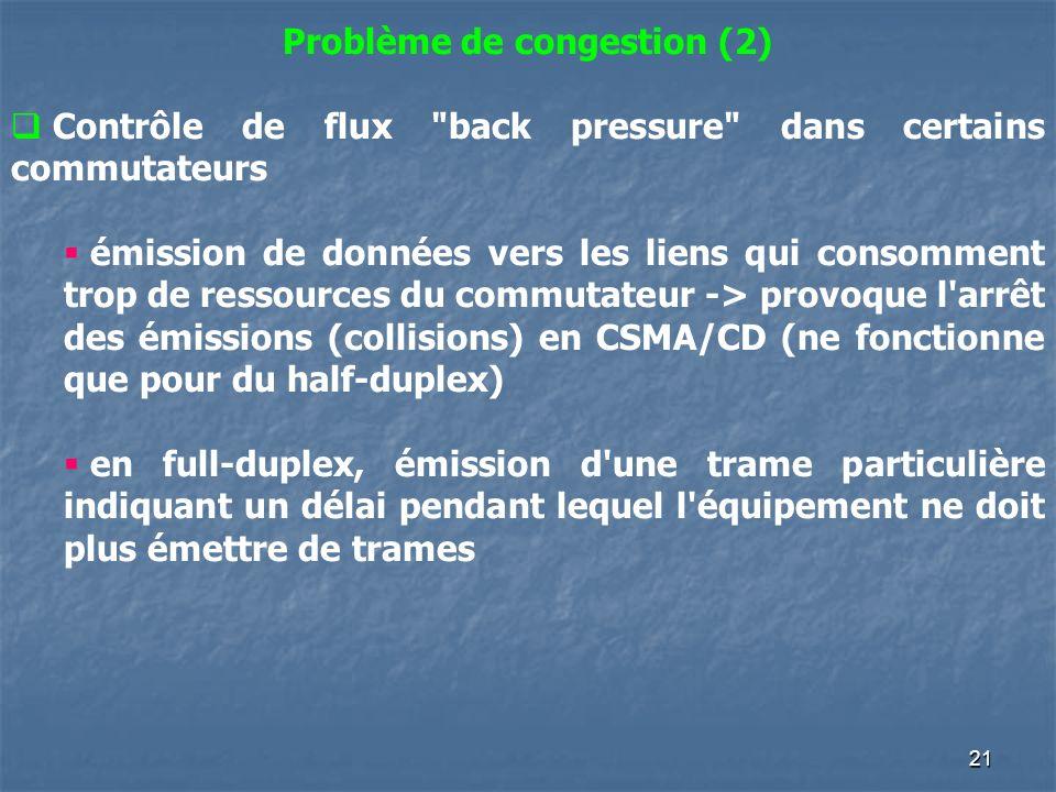 21 Problème de congestion (2) Contrôle de flux