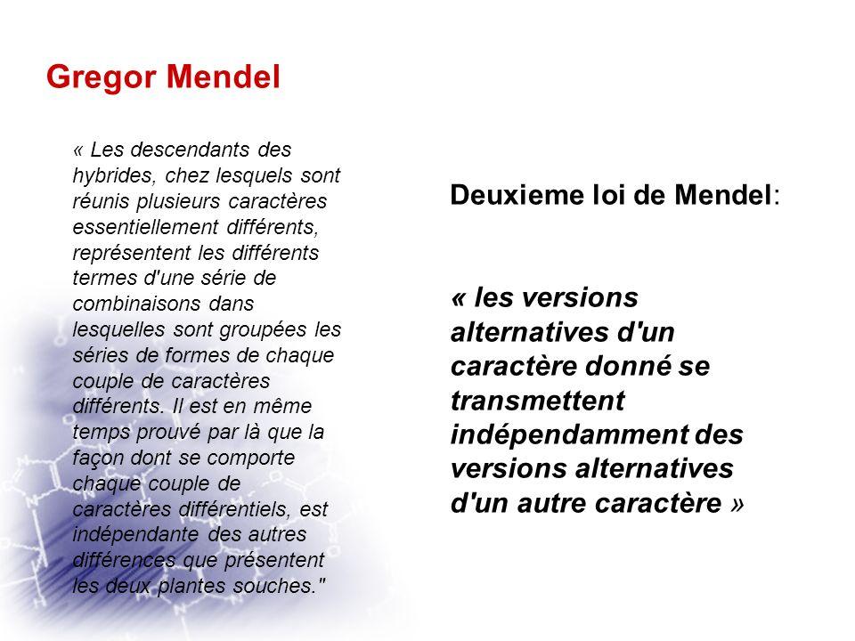 Gregor Mendel Mendel sélectionne deux variétés de pois différant par deux caractères: -caractère