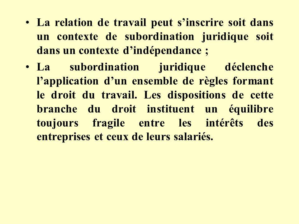 La relation de travail peut sinscrire soit dans un contexte de subordination juridique soit dans un contexte dindépendance ; La subordination juridique déclenche lapplication dun ensemble de règles formant le droit du travail.