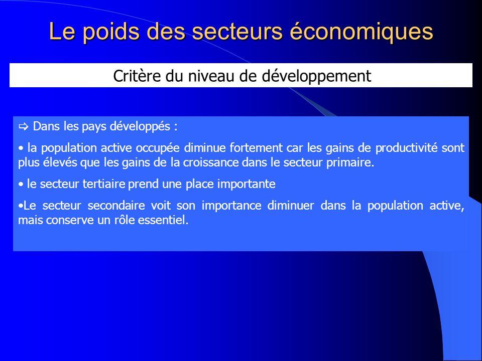 Le poids des secteurs économiques Critère du niveau de développement Dans les pays développés : la population active occupée diminue fortement car les