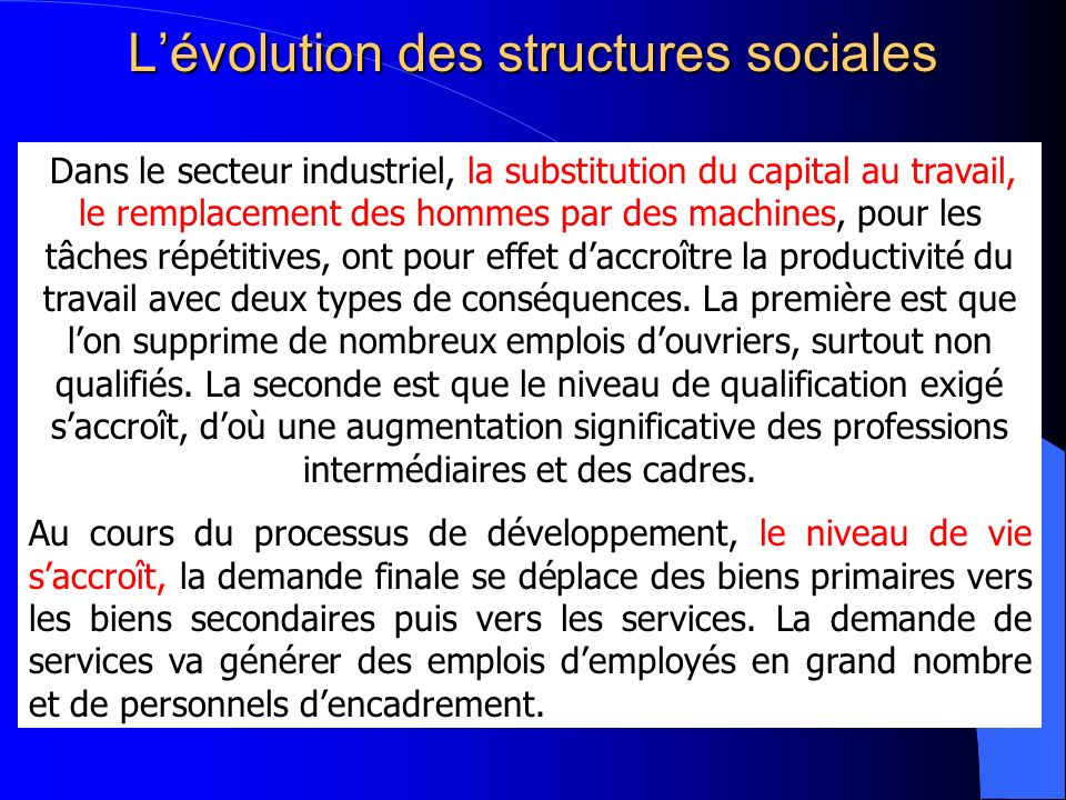 Lévolution des structures sociales Dans le secteur industriel, la substitution du capital au travail, le remplacement des hommes par des machines, pou