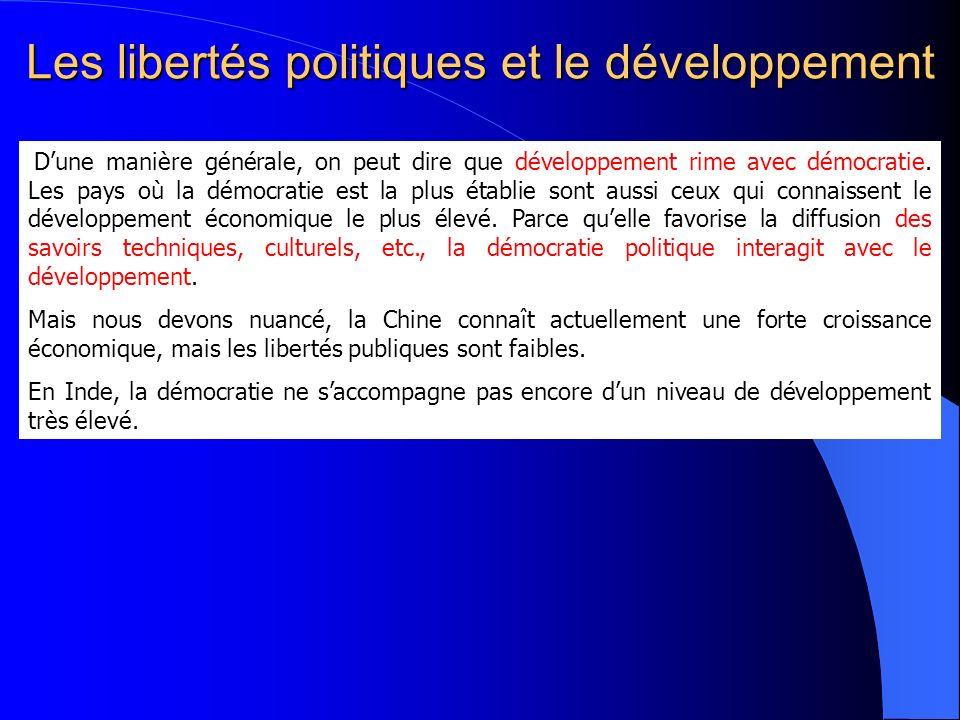 Les libertés politiques et le développement Dune manière générale, on peut dire que développement rime avec démocratie. Les pays où la démocratie est