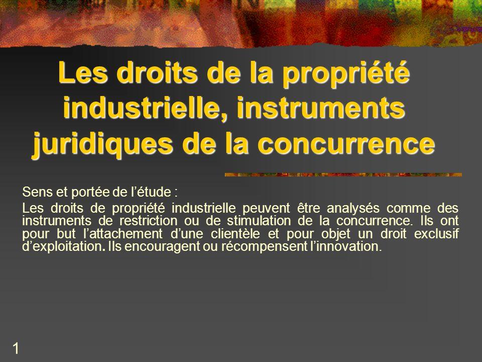 1 Les droits de la propriété industrielle, instruments juridiques de la concurrence Sens et portée de létude : Les droits de propriété industrielle pe