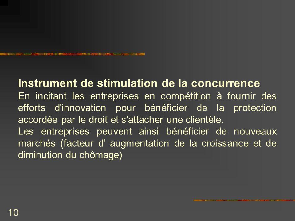10 Instrument de stimulation de la concurrence En incitant les entreprises en compétition à fournir des efforts d'innovation pour bénéficier de la pro
