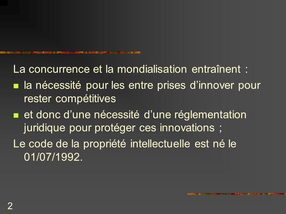 2 La concurrence et la mondialisation entraînent : la nécessité pour les entre prises dinnover pour rester compétitives et donc dune nécessité dune ré