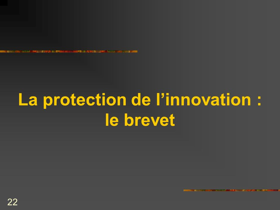 22 La protection de linnovation : le brevet