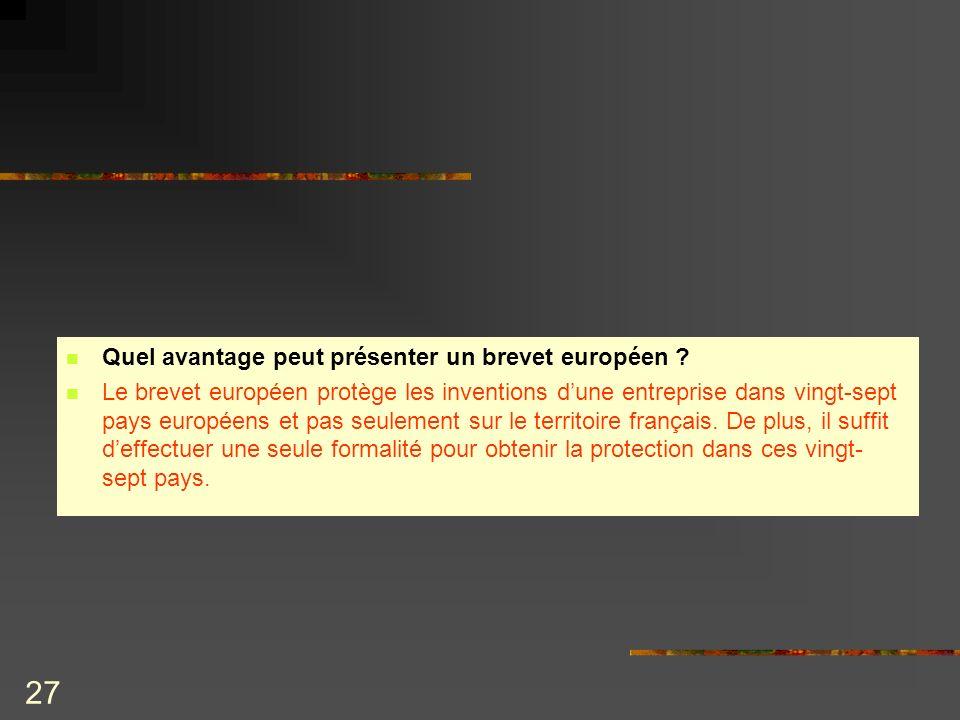 27 Quel avantage peut présenter un brevet européen ? Le brevet européen protège les inventions dune entreprise dans vingt-sept pays européens et pas s