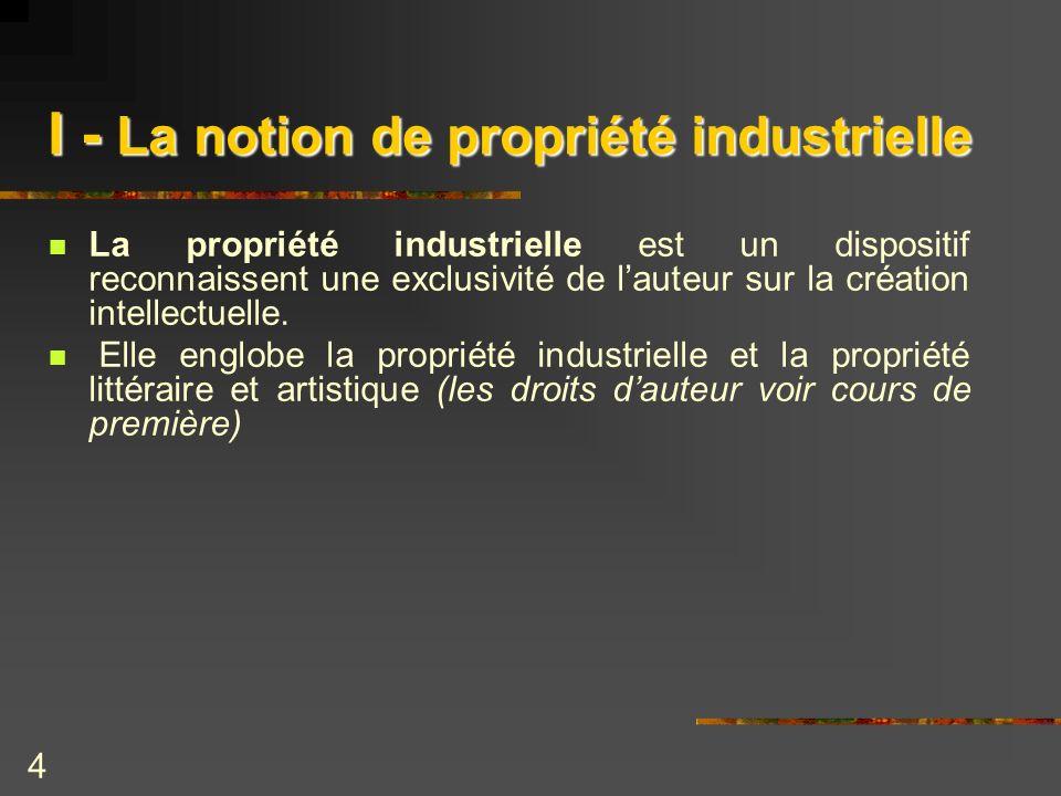 4 I - La notion de propriété industrielle La propriété industrielle est un dispositif reconnaissent une exclusivité de lauteur sur la création intelle