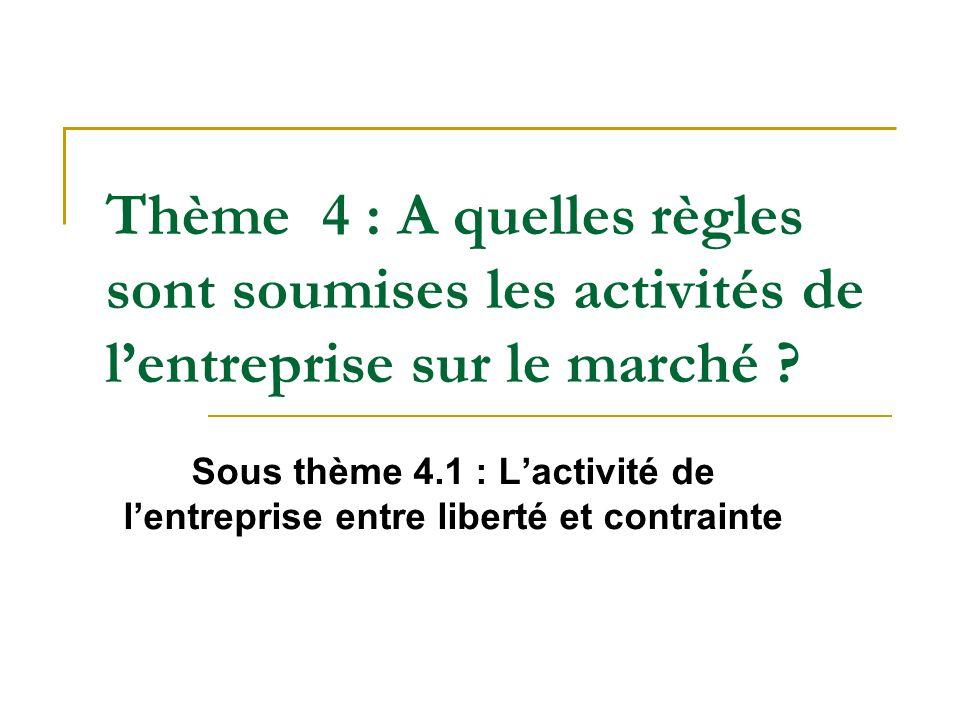Thème 4 : A quelles règles sont soumises les activités de lentreprise sur le marché ? Sous thème 4.1 : Lactivité de lentreprise entre liberté et contr