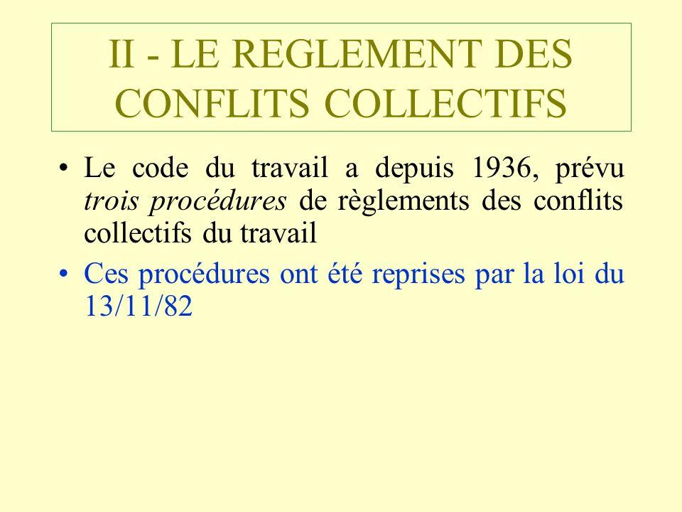 II - LE REGLEMENT DES CONFLITS COLLECTIFS Le code du travail a depuis 1936, prévu trois procédures de règlements des conflits collectifs du travail Ce