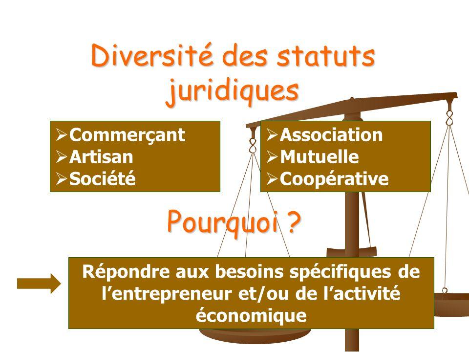 Diversité des statuts juridiques Pourquoi .