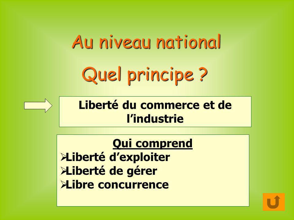Au niveau national Quel principe ? Liberté du commerce et de lindustrie Qui comprend Liberté dexploiter Liberté de gérer Libre concurrence