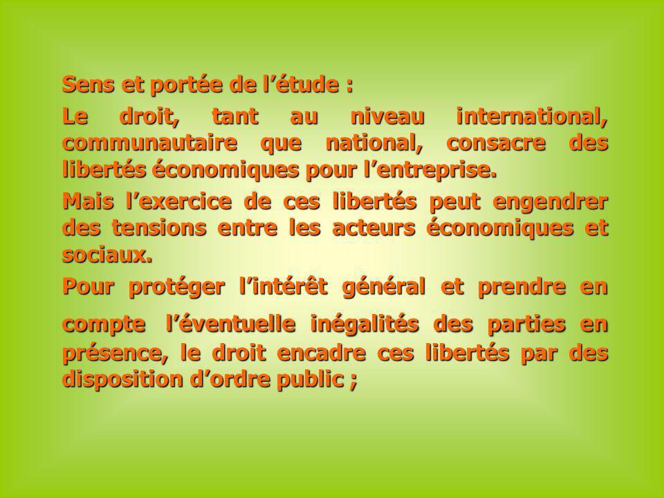 Sens et portée de létude : Le droit, tant au niveau international, communautaire que national, consacre des libertés économiques pour lentreprise.