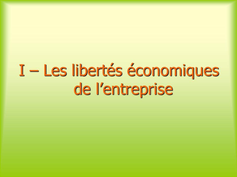 I – Les libertés économiques de lentreprise
