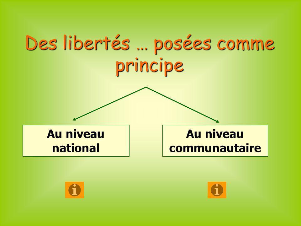 Des libertés … posées comme principe Au niveau national Au niveau communautaire