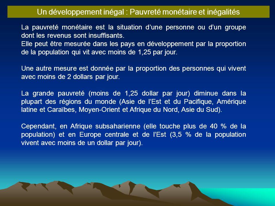 La pauvreté monétaire est la situation dune personne ou dun groupe dont les revenus sont insuffisants. Elle peut être mesurée dans les pays en dévelop