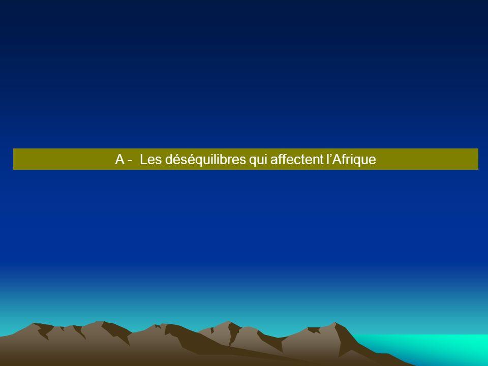 A - Les déséquilibres qui affectent lAfrique