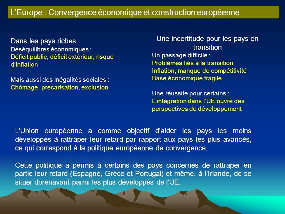 LEurope : Convergence économique et construction européenne LUnion européenne a comme objectif daider les pays les moins développés à rattraper leur r