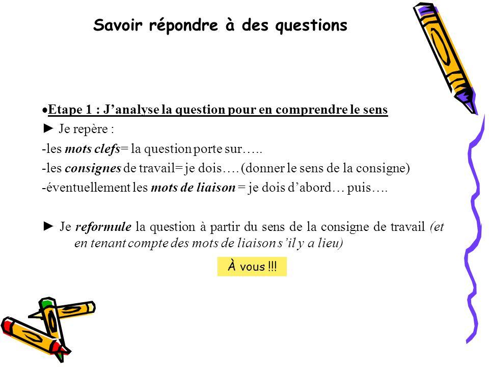 Savoir répondre à des questions Etape 1 : J analyse la question pour en comprendre le sens Je repère : -les mots clefs= la question porte sur….. -les
