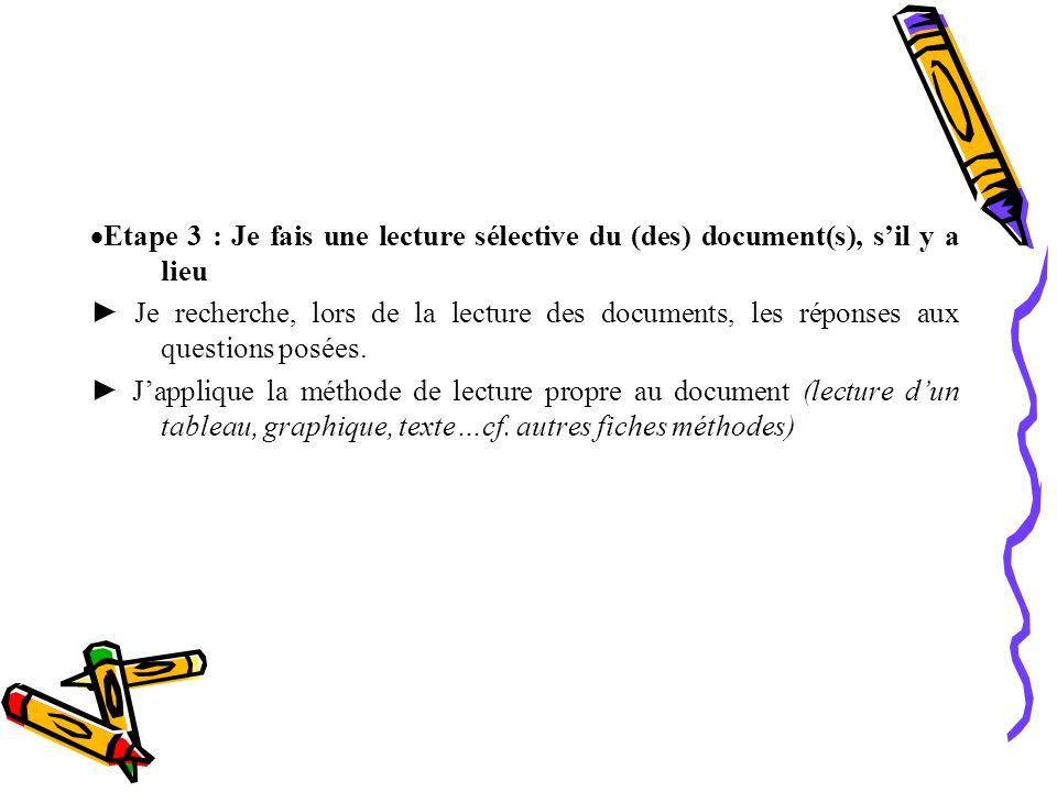 Etape 3 : Je fais une lecture sélective du (des) document(s), s il y a lieu Je recherche, lors de la lecture des documents, les réponses aux questions