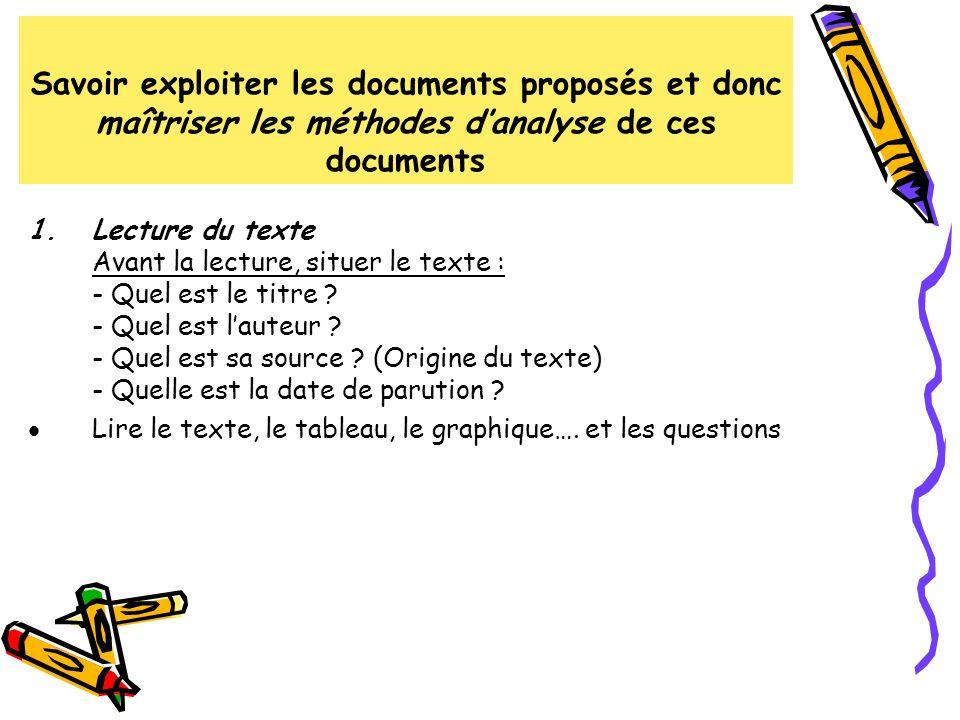 Savoir exploiter les documents proposés et donc maîtriser les méthodes danalyse de ces documents 1.Lecture du texte Avant la lecture, situer le texte