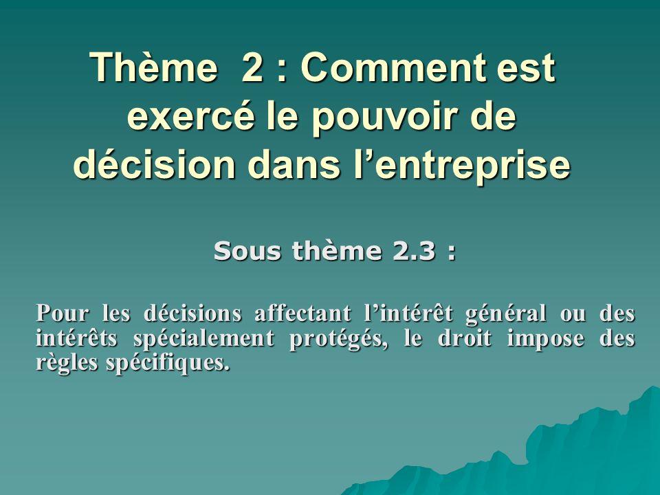 Thème 2 : Comment est exercé le pouvoir de décision dans lentreprise Sous thème 2.3 : Pour les décisions affectant lintérêt général ou des intérêts sp