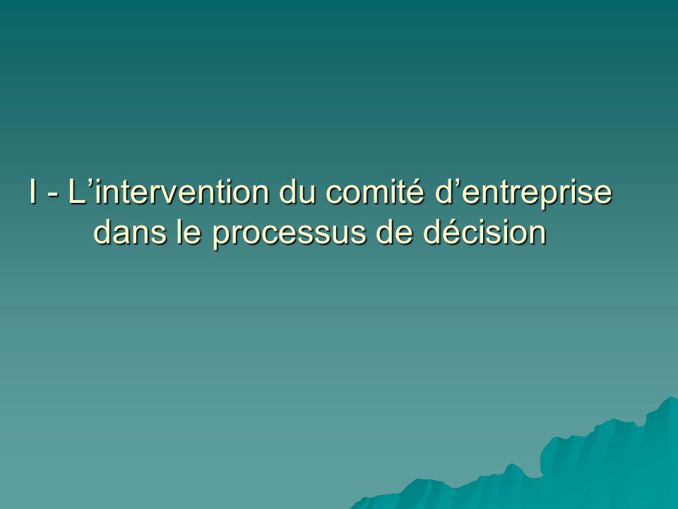 I - Lintervention du comité dentreprise dans le processus de décision
