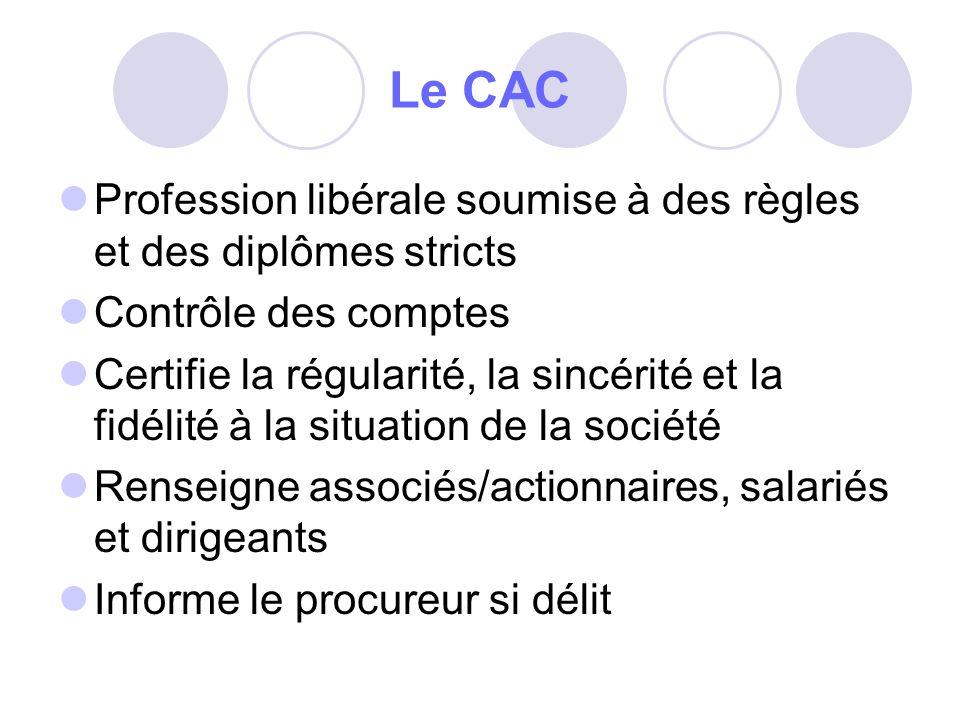 Le CAC Profession libérale soumise à des règles et des diplômes stricts Contrôle des comptes Certifie la régularité, la sincérité et la fidélité à la situation de la société Renseigne associés/actionnaires, salariés et dirigeants Informe le procureur si délit