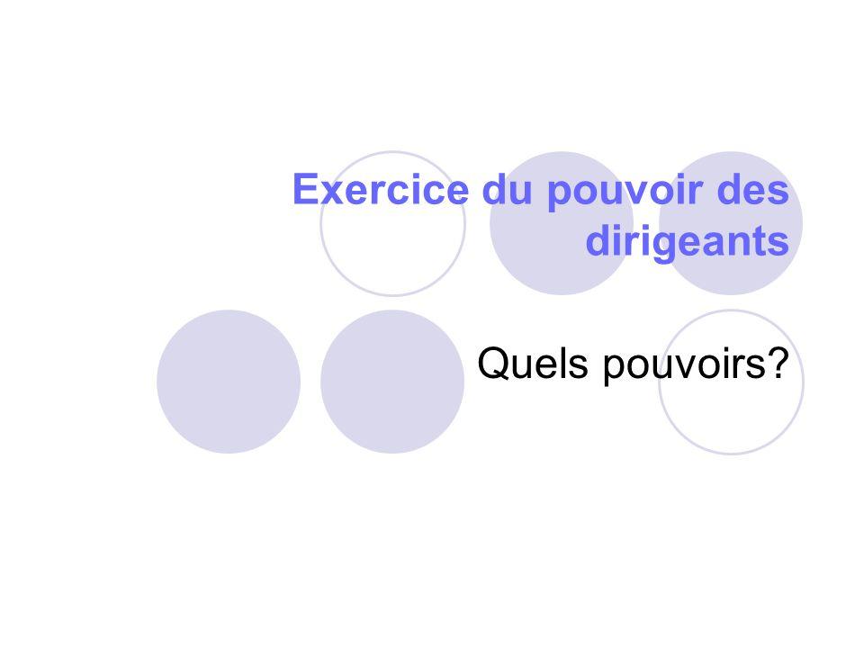 Modalités de prise de décision Réunion en Assemblée Générale Respect dun quorum = nombre minimal de participants (1/4 des droits de vote) Respect dune majorité simple ou qualifiée (2/3 des voix présentes ou représentées)