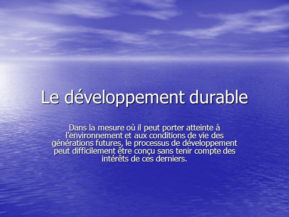 Le développement durable Dans la mesure où il peut porter atteinte à lenvironnement et aux conditions de vie des générations futures, le processus de