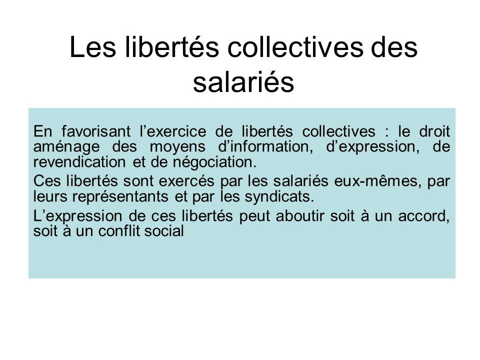 Les libertés collectives des salariés En favorisant lexercice de libertés collectives : le droit aménage des moyens dinformation, dexpression, de revendication et de négociation.