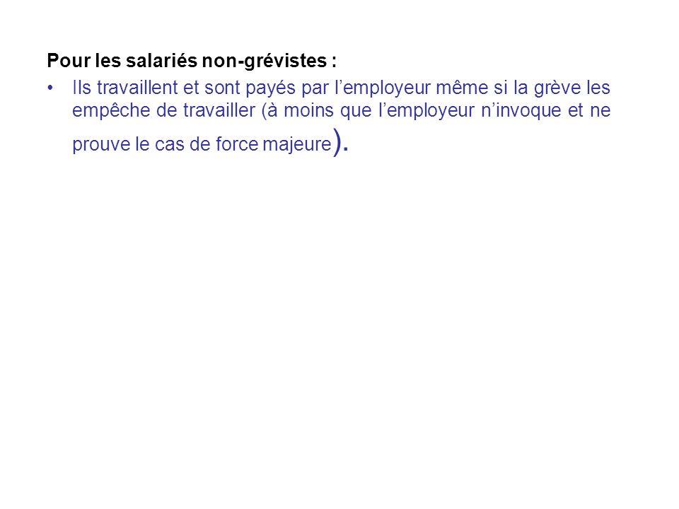 Les conséquences de la grève Pour les salariés grévistes : (Art L. 521-1 du code du travail) La grève ne rompt pas le contrat de travail mais le suspe