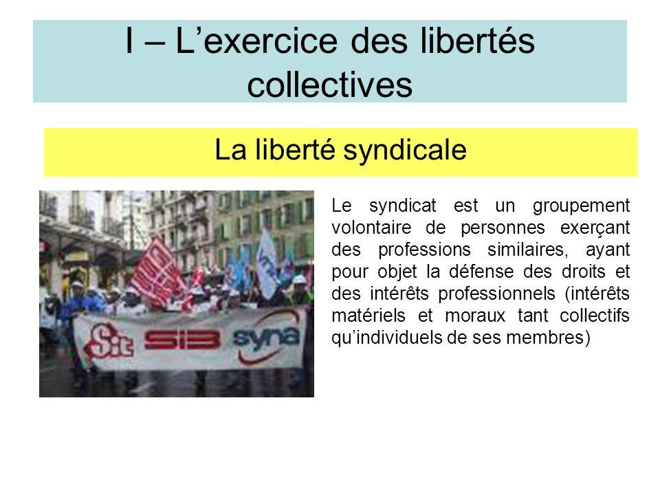 I – Lexercice des libertés collectives La liberté syndicale Le syndicat est un groupement volontaire de personnes exerçant des professions similaires, ayant pour objet la défense des droits et des intérêts professionnels (intérêts matériels et moraux tant collectifs quindividuels de ses membres)