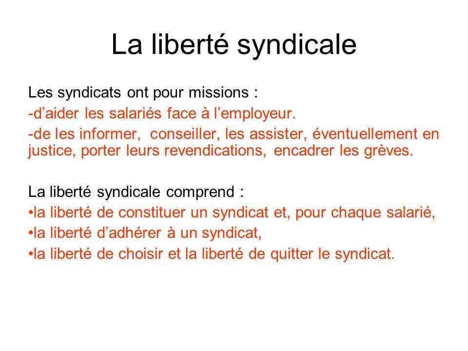 La liberté syndicale Les syndicats ont pour missions : -d-daider les salariés face à lemployeur.
