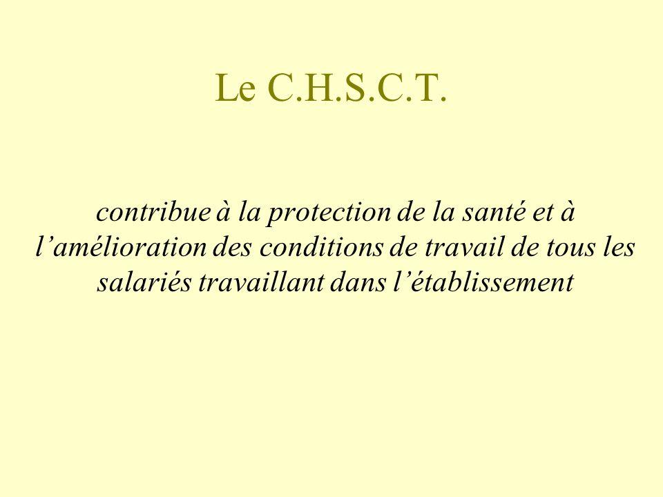 Le C.H.S.C.T. contribue à la protection de la santé et à lamélioration des conditions de travail de tous les salariés travaillant dans létablissement