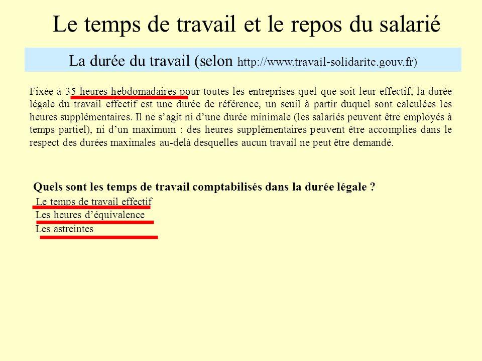 Le temps de travail et le repos du salarié La durée du travail (selon http://www.travail-solidarite.gouv.fr) Fixée à 35 heures hebdomadaires pour tout