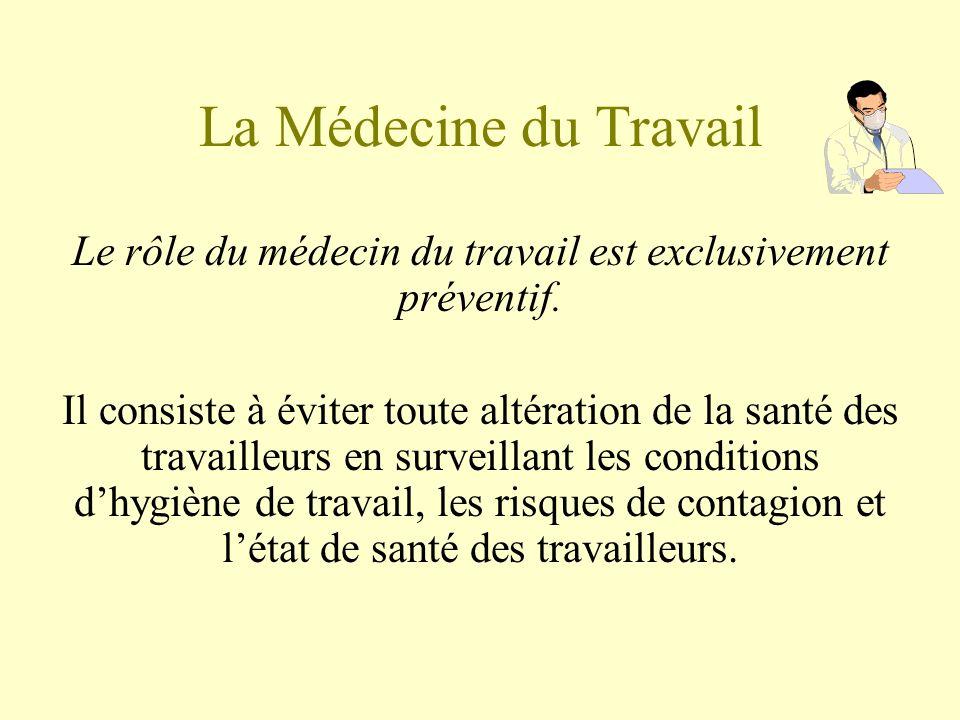 La Médecine du Travail Le rôle du médecin du travail est exclusivement préventif. Il consiste à éviter toute altération de la santé des travailleurs e
