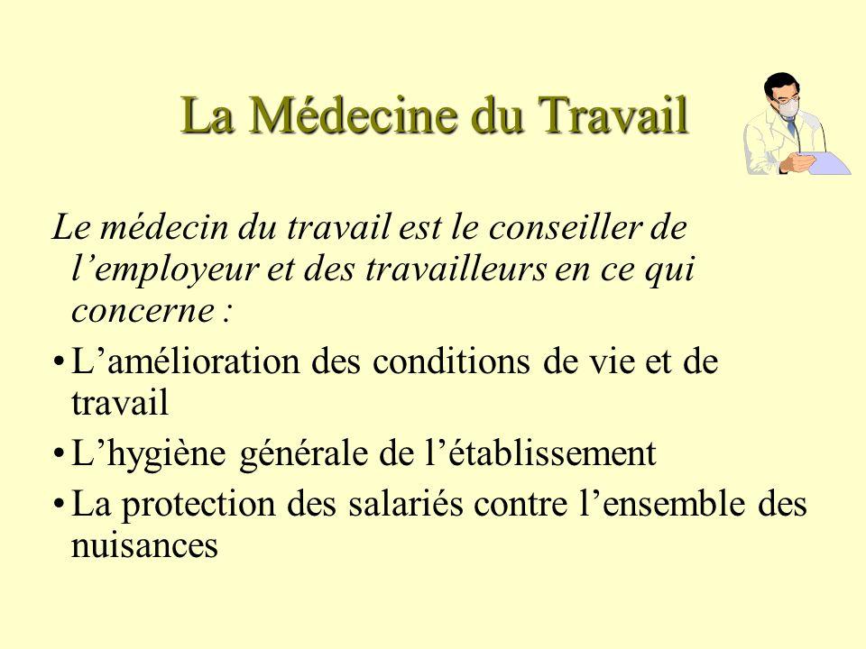La Médecine du Travail Le médecin du travail est le conseiller de lemployeur et des travailleurs en ce qui concerne : Lamélioration des conditions de