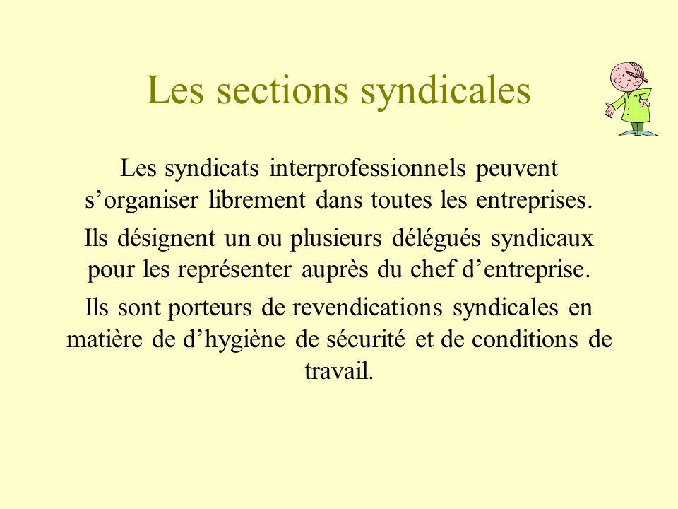 Les sections syndicales Les syndicats interprofessionnels peuvent sorganiser librement dans toutes les entreprises. Ils désignent un ou plusieurs délé