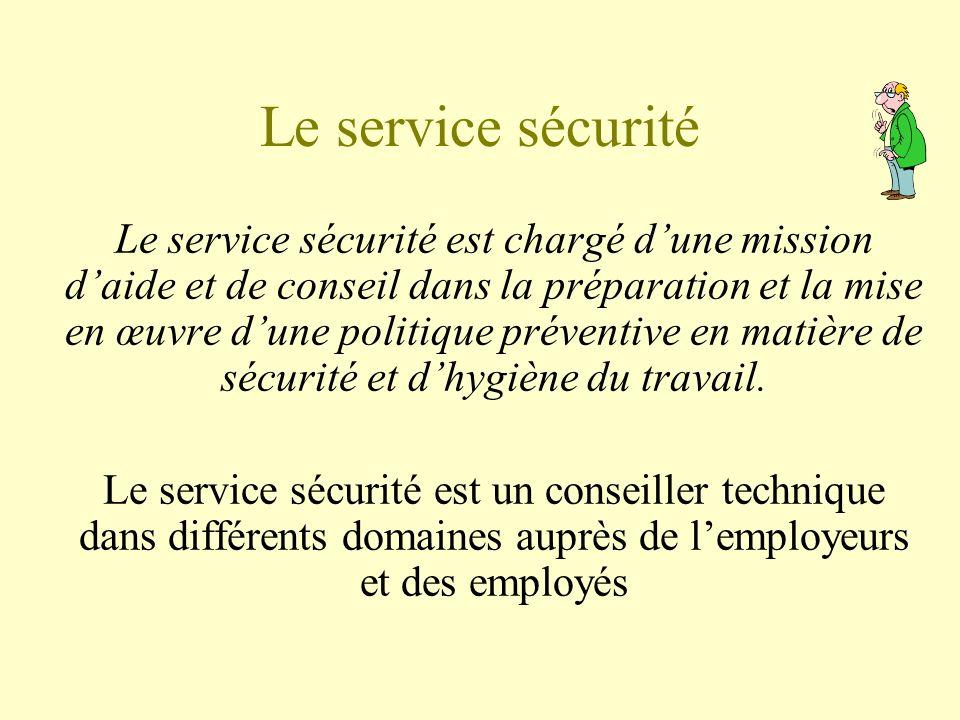 Le service sécurité Le service sécurité est chargé dune mission daide et de conseil dans la préparation et la mise en œuvre dune politique préventive