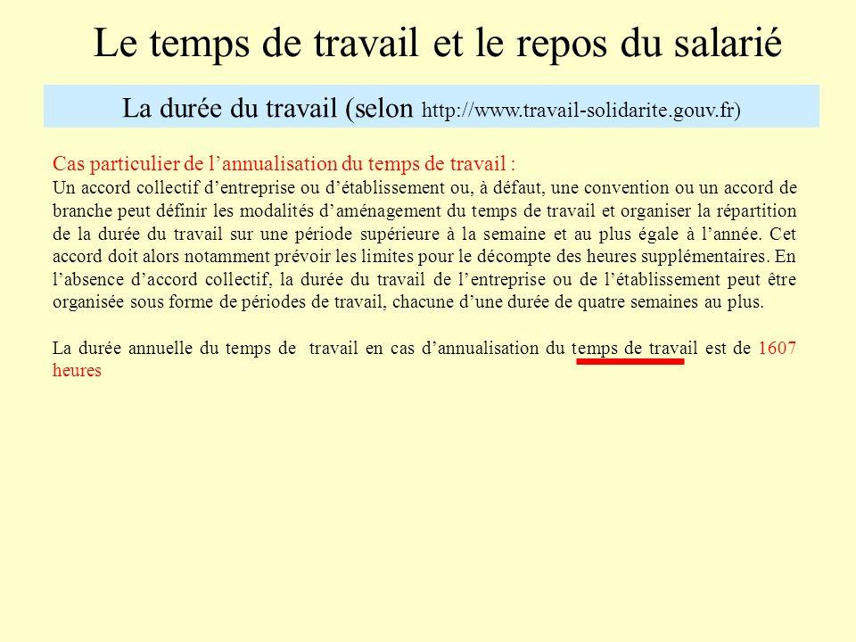 Le temps de travail et le repos du salarié La durée du travail (selon http://www.travail-solidarite.gouv.fr) Les heures supplémentaires A la demande de lemployeur, le salarié peut travailler au-delà de la durée légale.