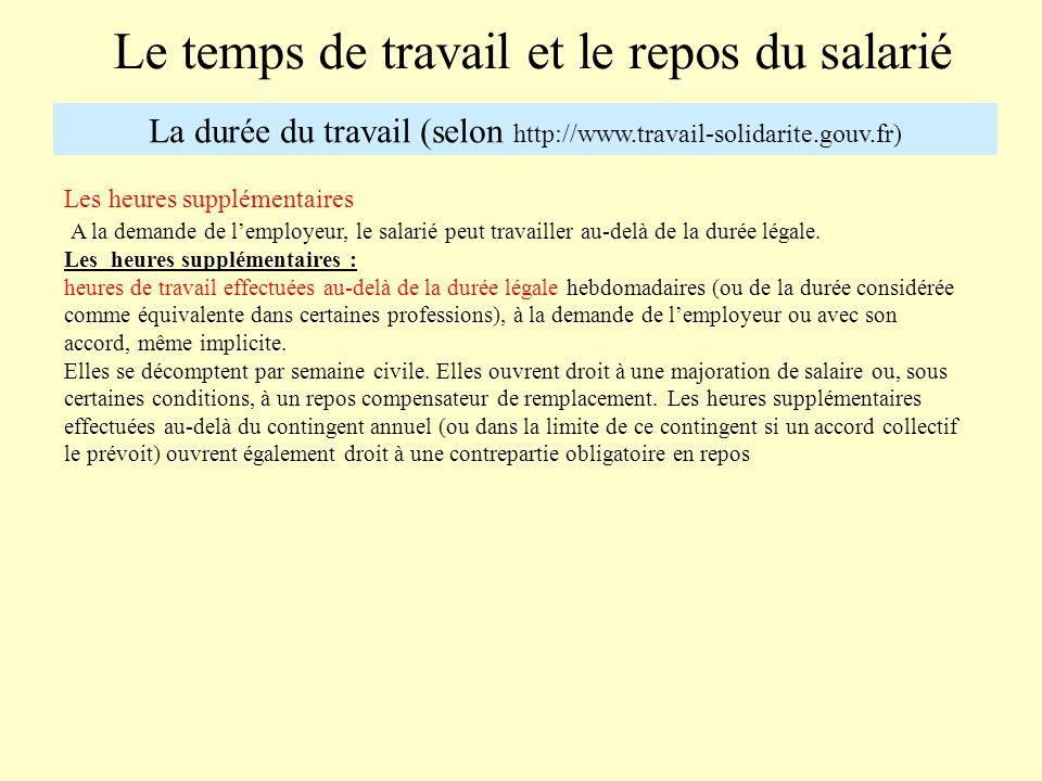 Le temps de travail et le repos du salarié La durée du travail (selon http://www.travail-solidarite.gouv.fr) Les heures supplémentaires A la demande d