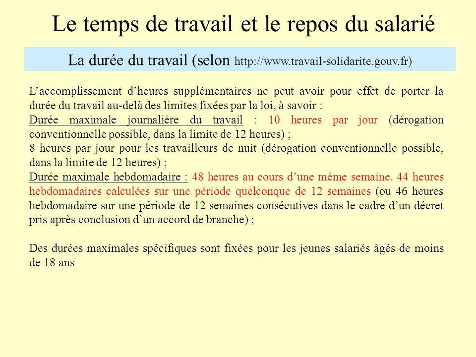 Le temps de travail et le repos du salarié La durée du travail (selon http://www.travail-solidarite.gouv.fr) Les heures prises en compte pour le calcul du contingent annuel dheures supplémentaires sont celles accomplies au-delà de la durée légale.
