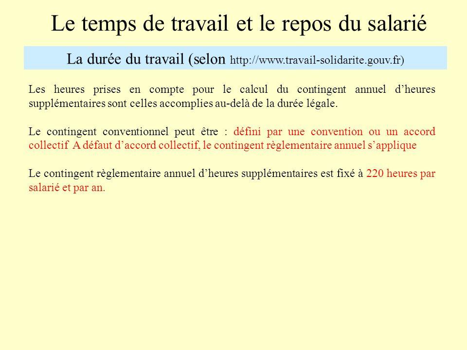 Le temps de travail et le repos du salarié La durée du travail (selon http://www.travail-solidarite.gouv.fr) Les heures prises en compte pour le calcu